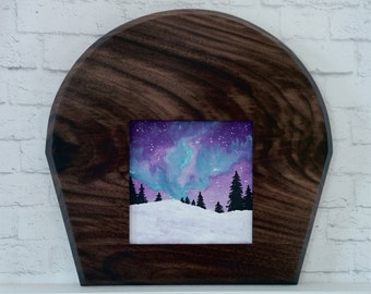 "Original Miniature Painting, ""Northern Lights"", Acrylic on Canvas, Custom Hardwood Frame"