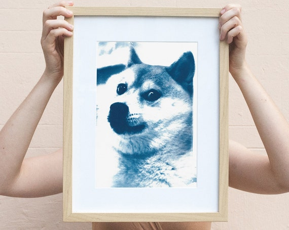 Doge Meme! Much Cool! /  Cyanotype Print on Watercolor Paper / Limited Edition / A4