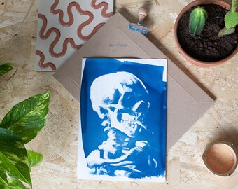 Skull with Cigarette by Van Gogh / Cyanotype on Watercolor Paper / Limited Edition / A4