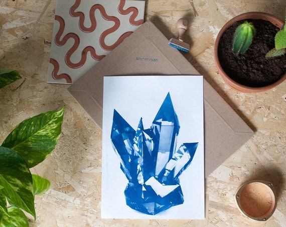 Blue Geometric Crystals / Cyanotype Print on Watercolor Paper / Limited Edition / A4