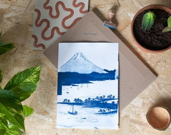 Mt. Fuji / Cyanotype Print on Watercolor Paper / Limited Edition / A4