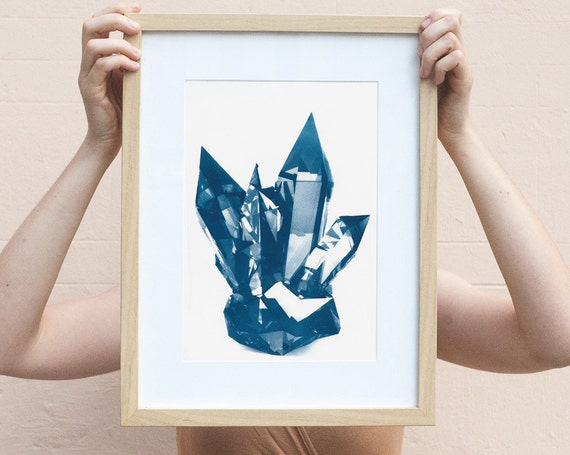 Blue Geometric Crystals, Cyanotype Print, Geometric Print, Crystals, Botanical Print, Mineral Art Print, Gemstone Art, Bohemian Wall Art