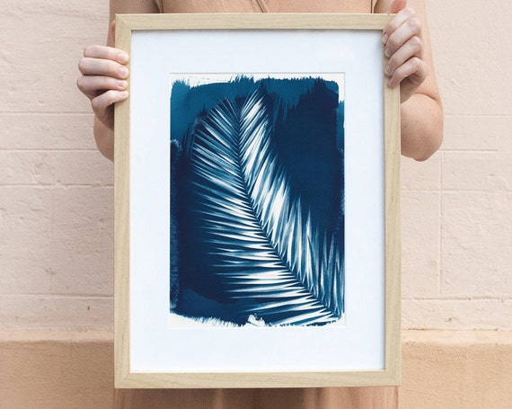 Tropical Palm Leaf  / Cyanotype Print on Watercolor Paper / Limtied Edition / A4