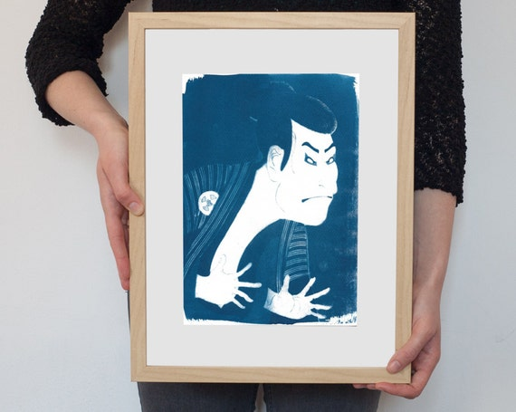 Ukiyo-e Kabuki Actor / Cyanotype on Watercolor Paper / Limited Edition / A4