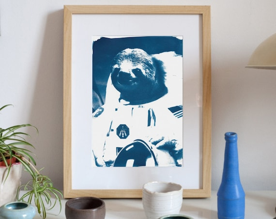 Astronaut Sloth Meme / Cyanotype Print on Watercolor Paper / Limited Edition / A4