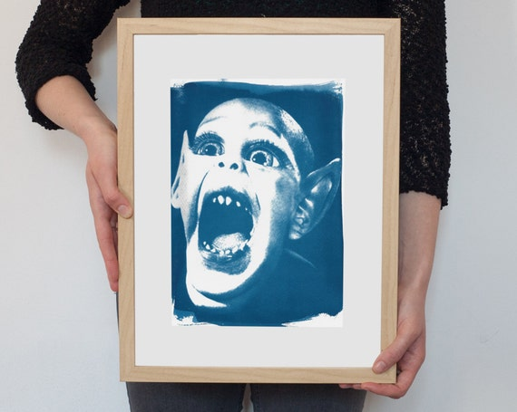 Bat Boy Meme, Cyanotype Print, National Enquirer, Weekly World News, Vintage News, Vampire Art, Gothic Decor, Film Buff Gift, Meme Art Print
