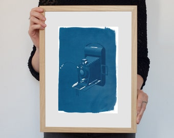 3d Analogue Vintage Film Camera, / Cyanotype on Watercolor Paper / Limited Edition