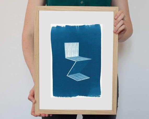 Gerrit Rietveld Zig Zag Chair, Mid Century, Dutch Design, New Apartment Decor, Abstract Shape, Furniture Design, Interior Designer, Wall Art