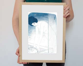 Traditional Ukiyo-e Woman Bathing / Cyanotype on Watercolor Paper / Limited Edition
