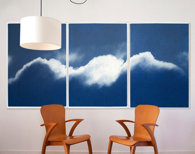 Waves of Clouds / Cyanotype Triptych on Paper / 2021