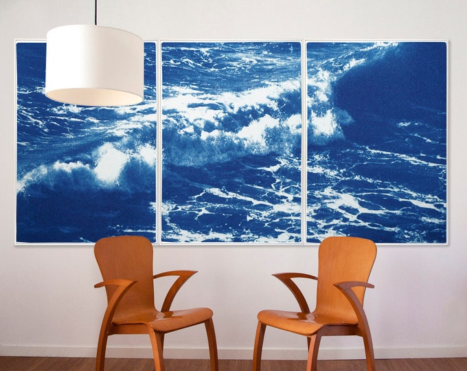 Australian Rolling Waves / Cyanotype Print Triptych on Watercolor Paper / Limited Edition