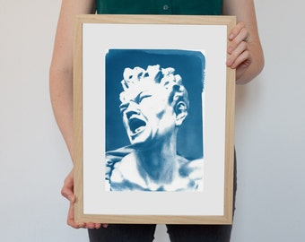 "Gian Lorenzo Bernini "" The Damned Soul Sculpture "" / Cyanotype Print on Watercolor Paper / Limited Edition / A4"
