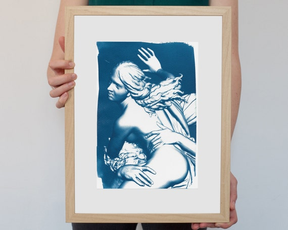 Greek Mythology, Bernini Rape of Prosepina Sculpture, Cyanotype Print, Wall Art, Gothic Bedroom, Erotic Art Print, Greek Art, Boho Decor