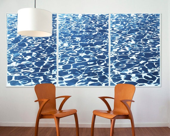 """Triptych """"Fresh California Pool Patterns"""" / Cyanotype Print on Watercolor Paper / 100x210 cm / Limited Edition"""