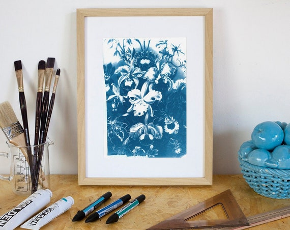 Vintage Floral Scene, Cyanotype Print on Watercolor Paper, Limited Edition