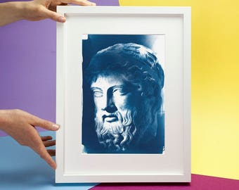 Roman Man with Beard Bust Sculpture, Cyanotype Print, Ancient Rome, Ancient Greece,Rome Wall Art,  Rome Prints Rome Wall Art Roman Sculpture