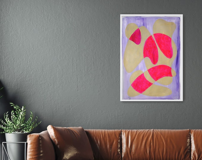 Hot Pink and Cream Curves / Acrylic Painting on Paper / 2021