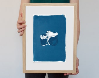 3d Analogue 35mm Film Camera / Cyanotype Print on Watercolour Paper / Limited Edition