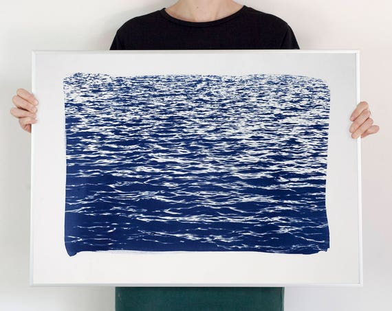 Mediterranean Blue Sea Waves / Cyanotype Print on Waercolor Paper / 50x70 cm / Limited Edition