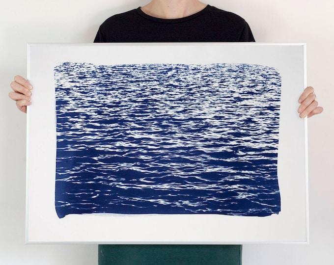 Mediterranean Blue Sea Waves / Cyanotype Print on Waercolor Paper / 50x70 cm / Limited Edition
