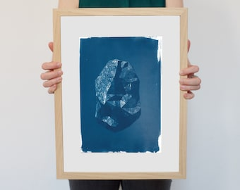 Amazing Low Poly Rock / Cyanotype Print on Watercolor Paper / Limited Edition