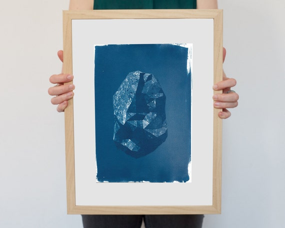 Amazing Low Poly Rock, Cyanotype Print on Watercolor Paper, Limited Edition