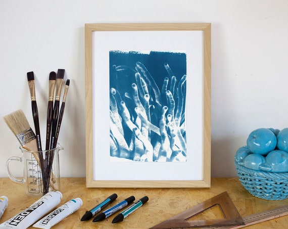 Vintage Coral Reef Photo, Handmade Cyanotype Print on Watercolor Paper, Limited Edition