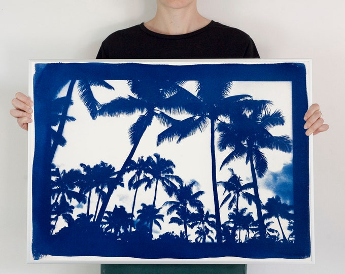 """""""Acapulco Palm Sunset"""" with Blue Border/ Hand-Printed Cyanotype on Watercolor Paper / 50x70cm / Limited Edition"""