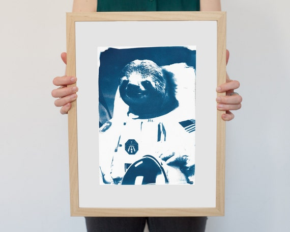 Astronaut Sloth Meme, Animal Cyanotype on Watercolor Paper, Cute Sloth, Funny Print, Space Sloth Boyfriend Gift Funny Sister Gift Meme Gifts