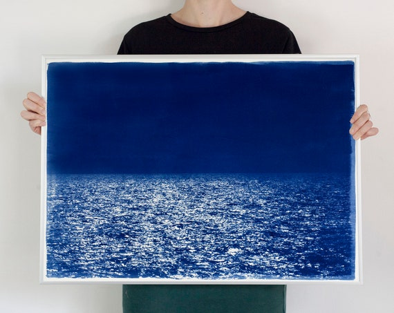 Zen Horizon by the Sea / Cyanotype Print on Watercolor Paper / Limited Edition / 50x70cm