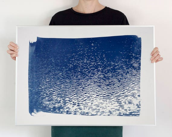Lake Tahoe Panorama / Cyanotype Print on Watercolor Paper / 50x70cm / . Limited Edition