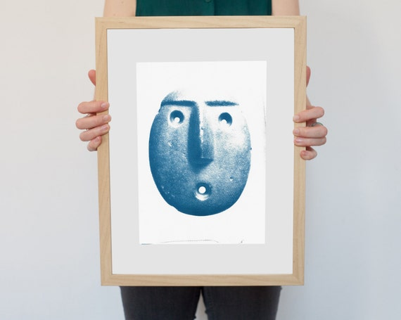 Andean Head Sculpture Emoticon, Ancient Emoji Cyanotype, Peruvian Art, Inca Art, Pre-columbian, Hand Printed, Mayan Art, Wall Art, Sculpture