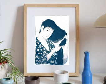 Geisha Combing Hair by Hashiguchi / Cyanotype Print on Watercolor Paper / Limited Edition / A4
