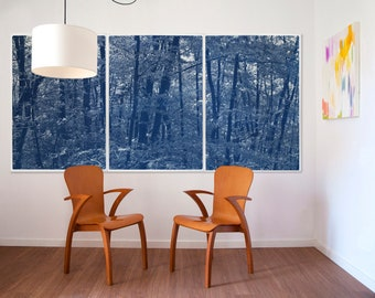 Walking in the Woods / Handmade Cyanotype Triptych / 100x210 cm / 2021