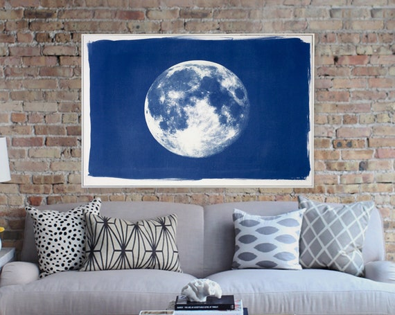 Handprinted Cyanotype: Blue Moon / 100x70cm / Limited Edition /