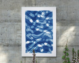 Layered Looping Lynes I / Cyanotype - Monotype on Watercolor Paper / 2021