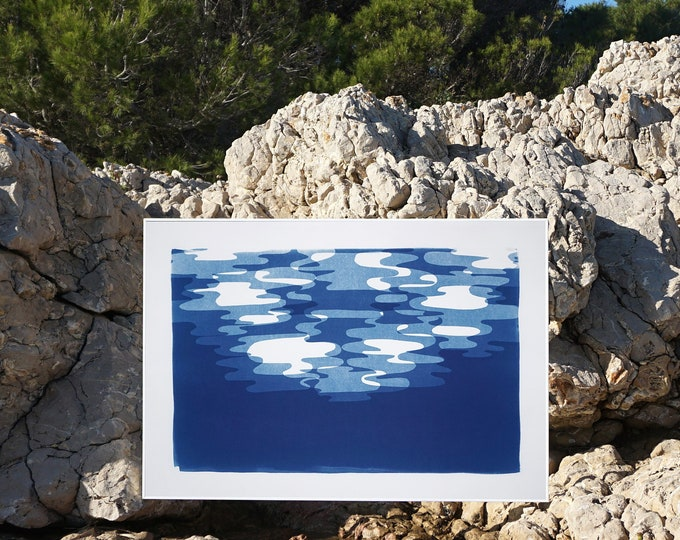Moonlight Reflections Contours / Cyanotype-Monotype on Watercolor Paper / 2020