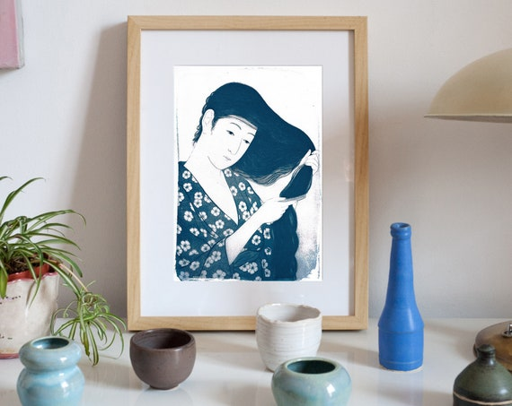 Original Handmade Cyanotype Print,  Ukiyo-e Geisha by Hashiguchi, Traditional Japanese Limited Edition on Watercolor Paper, Best gif for Her