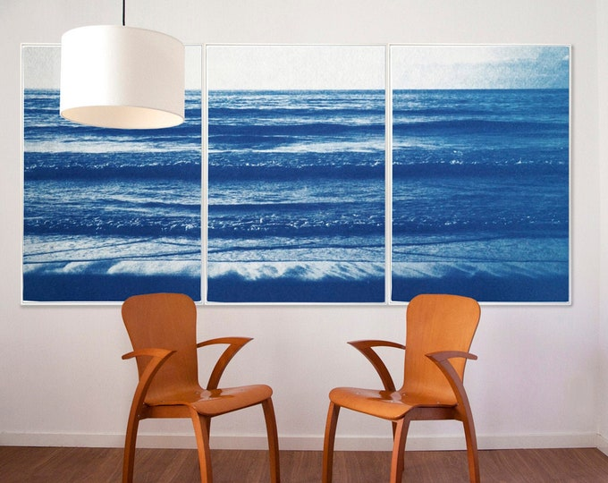 Pacific Beach Horizon / Handmade Cyanotype Triptych on Watercolor Paper / 2021