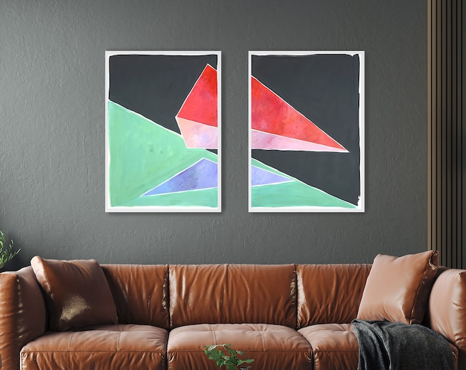 Space Age Triangles / Acrylic Painting Diptych on Paper / 2021