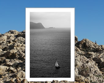 B&W / Misty Sailboat Journey / Limited Edition