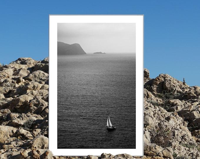 B&W / Misty Sailboat Journey / Limited Edition