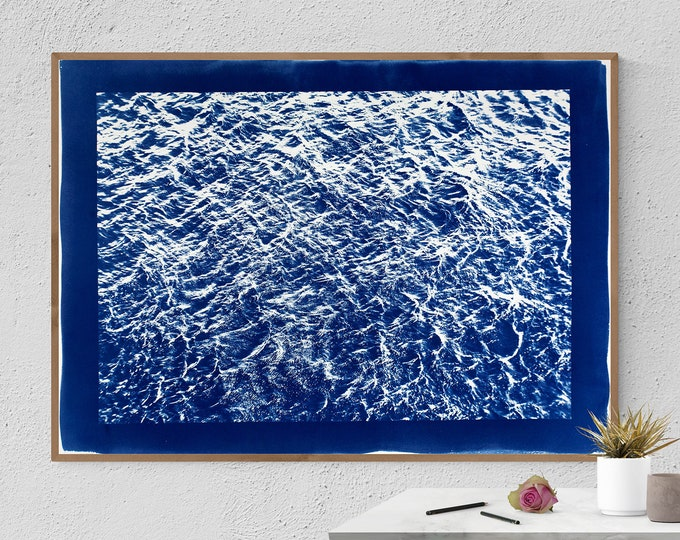 Handprinted Cyanotype: Pacific Ocean Currents / 100x70cm / Limited Edition