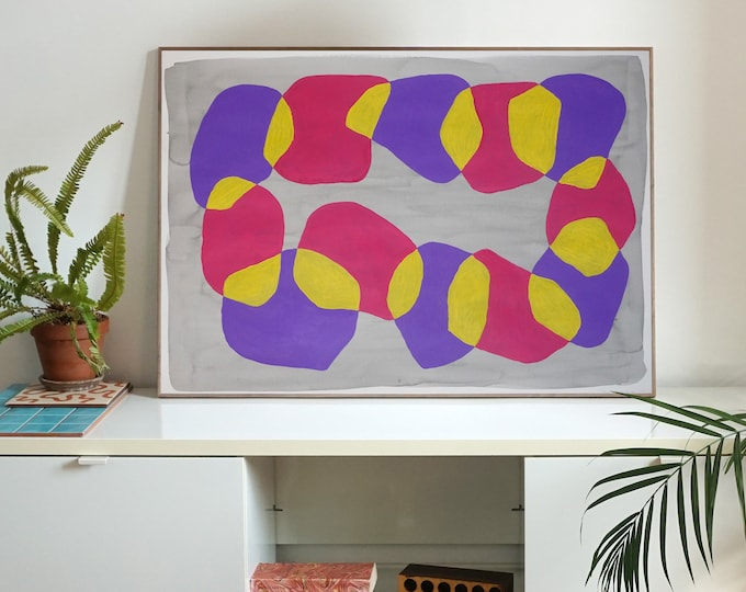 Abstract Sunset Shapes / Acrylic Painting on Paper / 2021