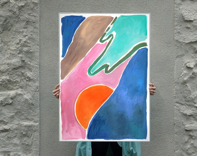 Warm Sunset Dunes / Acrylic Painting on Paper / 2021