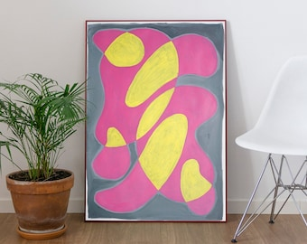 Abstract Pink Cadillac / Mid-Century Modern Style on Paper / 2021