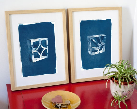 Beautiful Pair of 3D Bricks, Cyanotype Prints on Watercolor Paper, Limited Serie