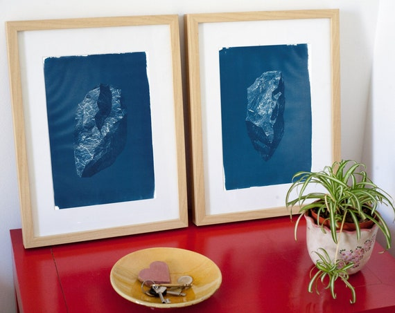 Beautiful Pair of 3D Digital Low Poly Rocks, Handmade Cyanotype Prints, Limited Edition