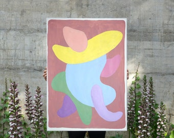 2021 Retro Futuristic Painting of Pastel Art Deco Tones, Subtle Palette, Acrylic Painting on Paper, Pink, Mauve and Red, Abstract Figure