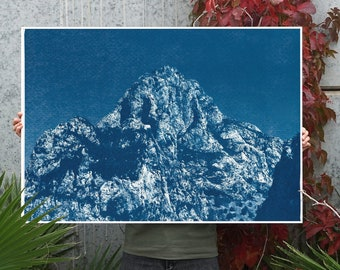 Yosemite Blue Mountain / Cyanotype Print on Watercolor Paper / 100x70 cm